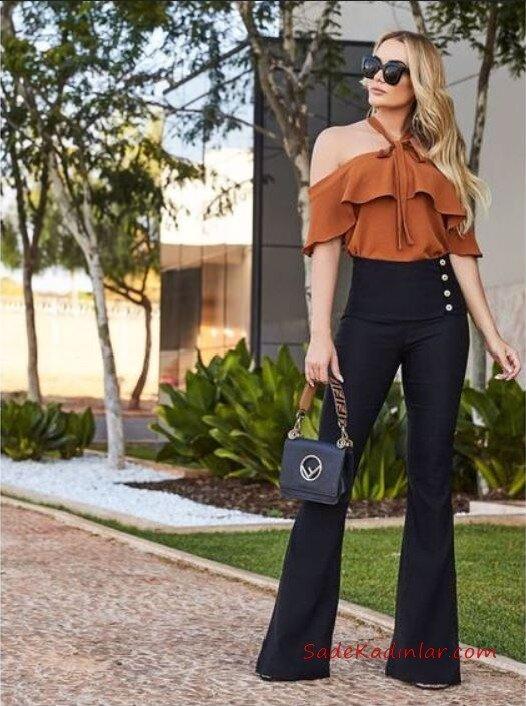 2021 İspanyol Paça Pantolon Kombinleri Siyah İspanyol Kumaş Pantolon Hardal Sarı Boyundan Askılı Bluz