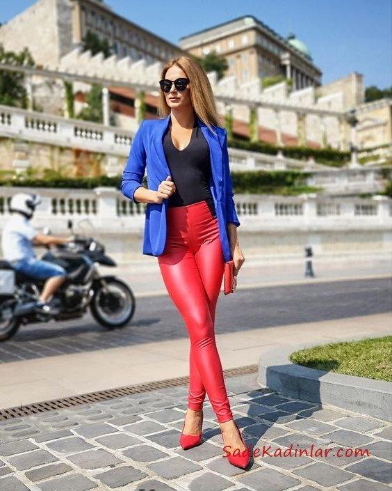 2019 Bayan Kombinleri Kırmızı Deri Pantolon Siyah V Yaka Bluz Saks Mavi Kısa Ceket