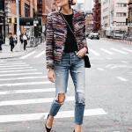 2019 Bayan Kombinleri Mavi Yırtık Kot Pantolon Siyah Bluz Siyah Desenli Kısa Ceket Siyah Stiletto Ayakkabı