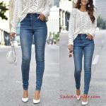 2019 Bayan Kombinleri Mavi Yüksel Bel Kot Pantolon Beyaz Salaş Örgü Kazak Beyaz Topuklu Ayakkabı