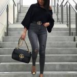 2019 Bayan Kombinleri Siyah Yırtık Yüksel Bel Pantolon Siyah Omuz Açık Salaş Kazak Siyah Topuklu Ayakkabı