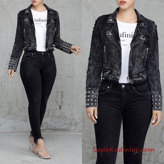 2019 Büyük Beden Günlük Kombinler Siyah Skinny Pantolon Beyaz Bluz Füme Kısa Kot Ceket