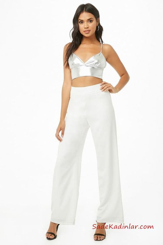 2019 Crop Top Bluz Kombinleri Beyaz Bol Paça Kumaş Pantolon Beyaz Askılı V Yaka Büstiyer Siyah Topuklu Ayakkabı