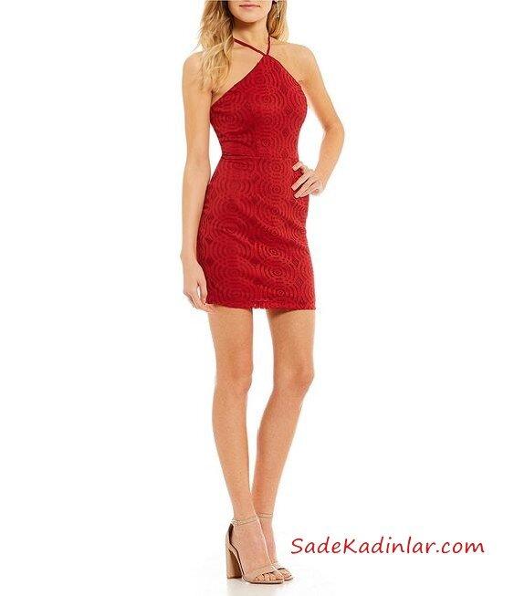 2019 Dantelli Abiye Modelleri Kırmızı Kısa Boyundan Askılı Sırt Dekolteli