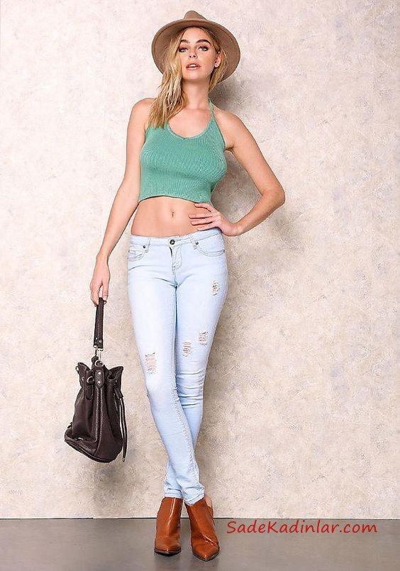 Bayanlar İçin 2021 Günlük Kıyafet Kombinleri Buz Mavisi Skinny Pantolon Yeşil Askılı Kısa Bluz Kahverengi Deri Topuklu Bot