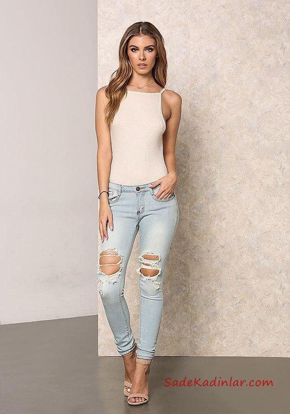 Bayanlar İçin 2021 Günlük Kıyafet Kombinleri Buz Mavisi Yırtık Kot Pantolon Beyaz Askılı Bluz Vizon Topuklu Ayakkabı