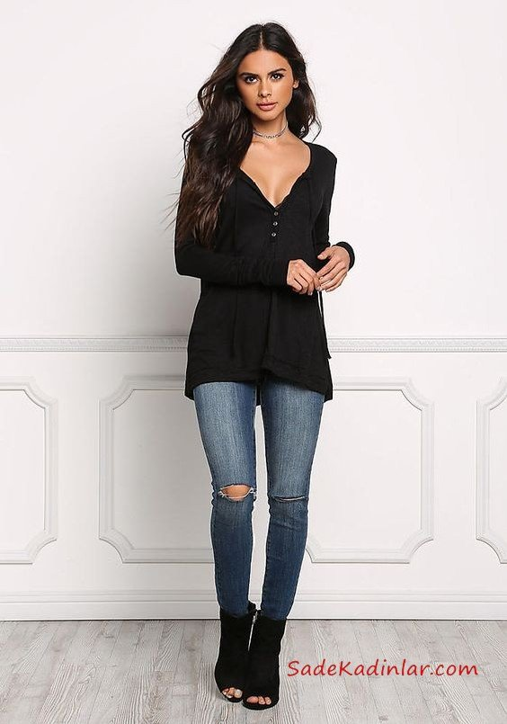 Bayanlar İçin 2021 Günlük Kıyafet Kombinleri Lacivert Skinny Pantolon Siyah V Yaka Uzun Kol Bluz Siyah Nubuk Topuklu Ayakkabı