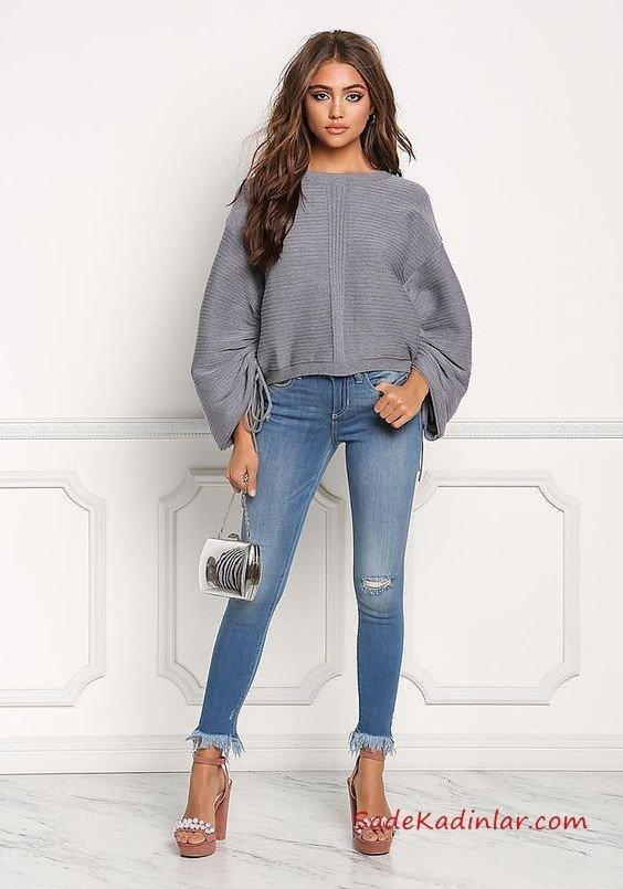 Bayanlar İçin 2021 Günlük Kıyafet Kombinleri Mavi Skinny Kot Pantolon Gri Salaş Kazak Kahverengi Topuklu Ayakkabı