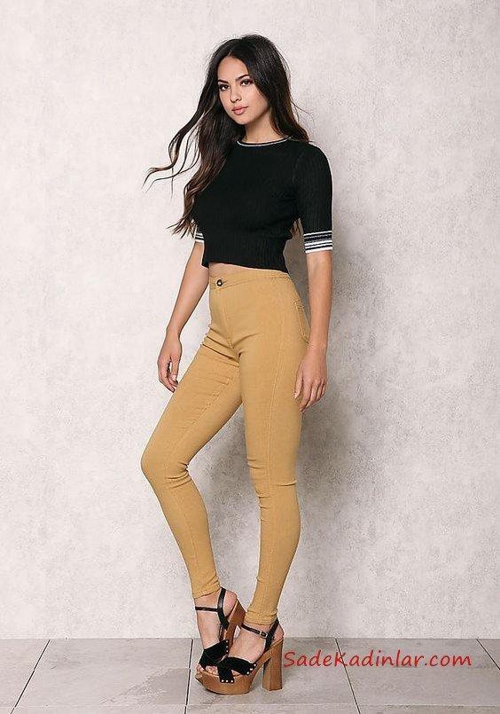 Bayanlar İçin 2021 Günlük Kıyafet Kombinleri Sarı Yüksel Bel Pantolon Siyah Kısa Kol Bluz Siyah Platform Topuklu Ayakkabı