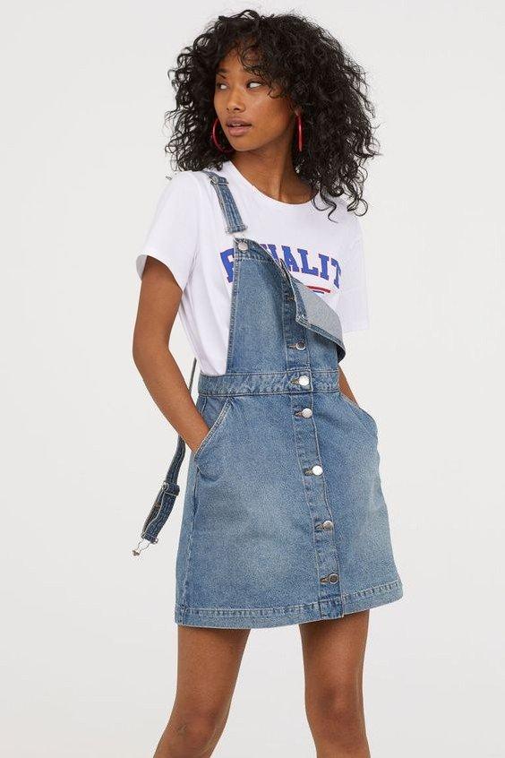 2019 Hm Elbise Modelleri Mavi Kot Askılı Cepli Önden Aksesuar Düğmeli
