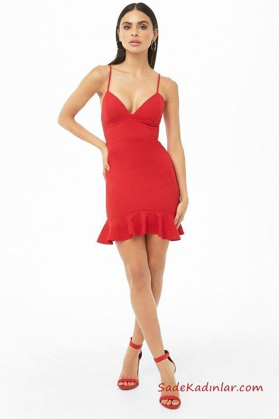 2019 Kırmızı Abiye Modelleri Kırmızı Kısa İp Askılı V Yaka Fırfırlı Etekli