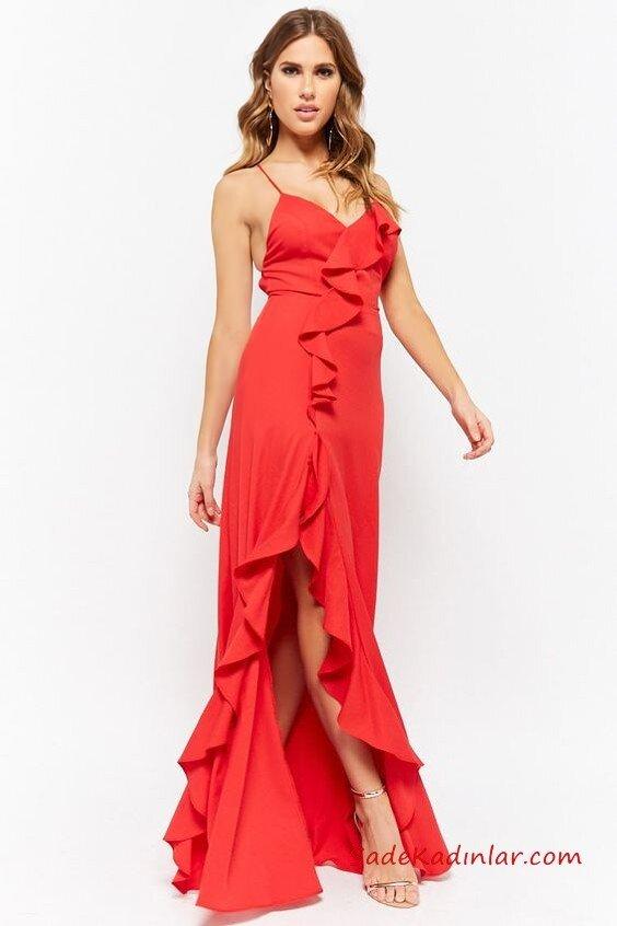 2019 Kırmızı Abiye Modelleri Kırmızı Uzun İp Askılı V Yaka Fırfır Detaylı Yırtmaçlı