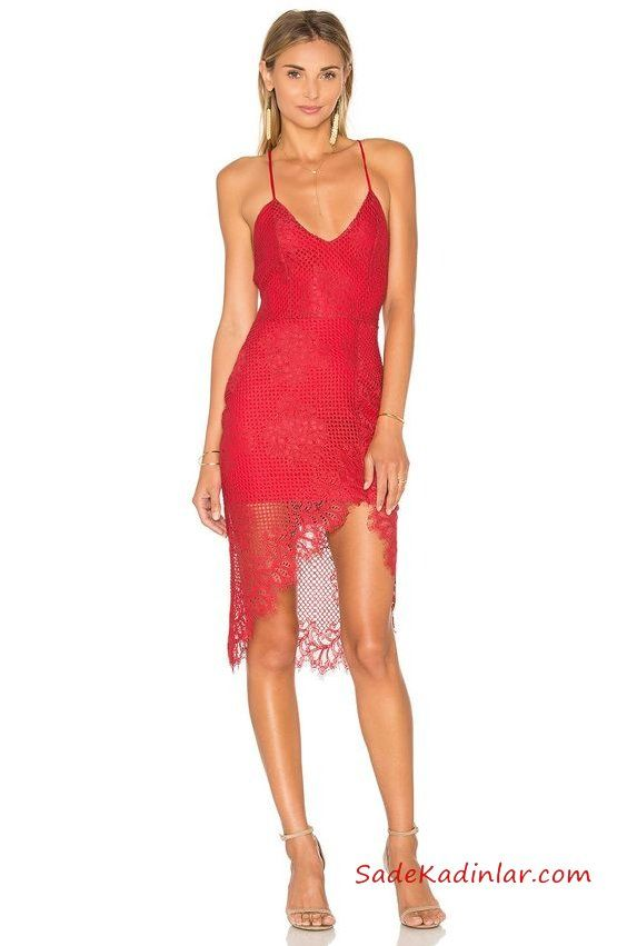 2019 Kısa Abiye Gece Elbiseleri Kırmızı Kısa Askılı V Yaka Dantel Asimetrik Etek Vizon Topuklu Ayakkabı