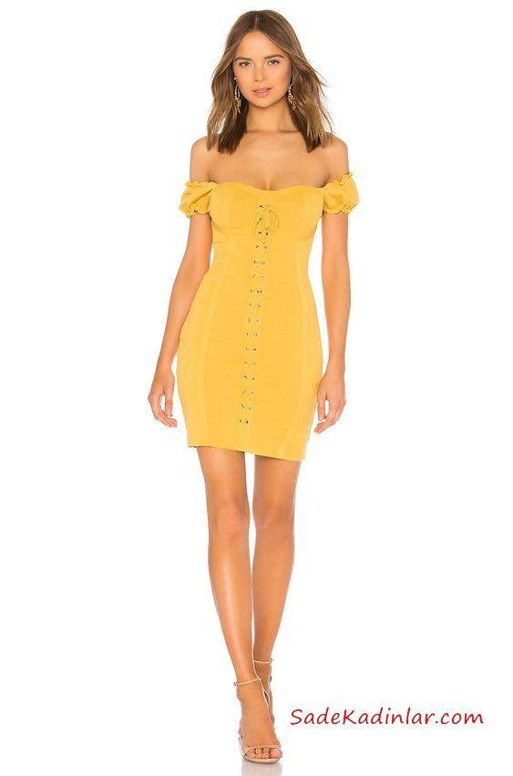 2019 Kısa Abiye Gece Elbiseleri Sarı Kısa Straplez Düşük Kol Kalp Yaka Bağcık Detaylı Vizon Topuklu Ayakkabı