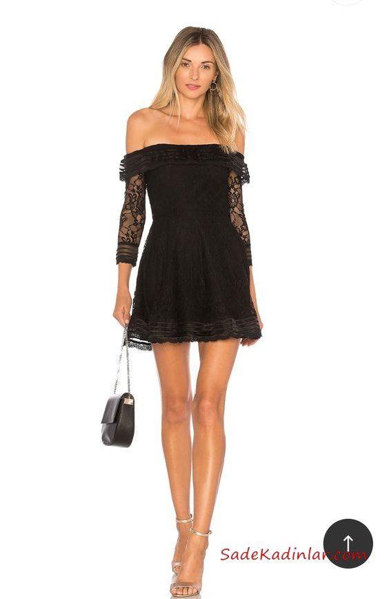 2019 Kısa Abiye Gece Elbiseleri Siyah Kısa Straplez Düşük Uzun Kol Dantel Kloş Etekli Gri Topuklu Ayakkabı