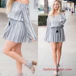 2020 Yazlık Kıyafet Kombinleri Gri Kısa Straplez Düşük Uzun Kol Belden Bağcıklı Elbise Gri Topuklu Ayakkabı