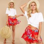 2020 Yazlık Kıyafet Kombinleri Kırmızı Kısa Desenli Kloş Etek Beyaz Kısa Kollu Tişört Taba Topuklu Ayakkabı