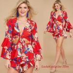 2020 Yazlık Kıyafet Kombinleri Kırmızı İki Parça Kloş Desenli Etek V YAka Bağcıklı Uzun Kol Bluz
