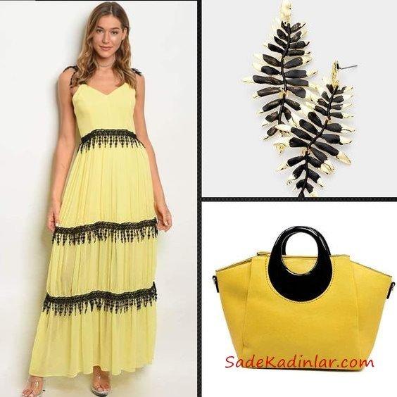 4b24a3e73fcb4 2019 Kıyafet Kombinleri Sarı Uzun Askılı V Yaka Kloş Etekli Elbise Şeffaf  Topuklu Ayakkabı. «