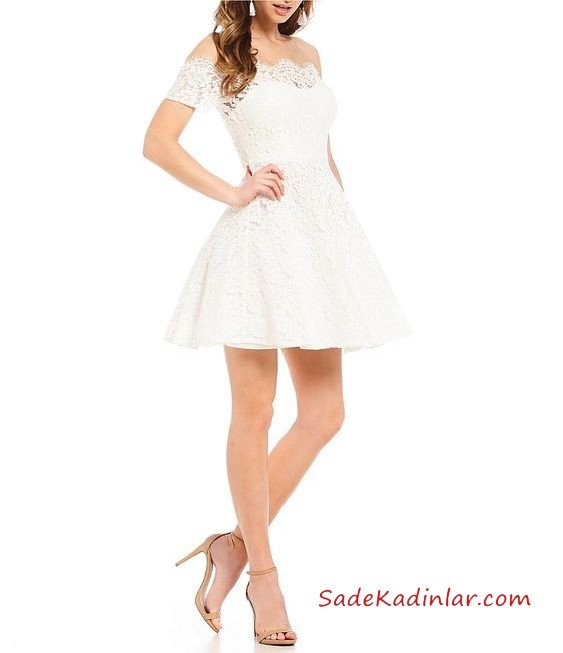 2019 Kloş Abiye Modelleri Beyaz Kısa Straplez Düşük Kol Dantel Yaka Kloş Etekli
