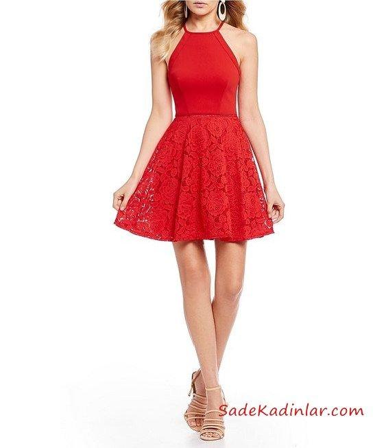 2019 Kloş Abiye Modelleri Kırmızı Kısa Boyundan Askılı Kloş Etekli Dantel