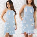 2019 Kot Elbise Modelleri Buz Mavisi Kısa İp Askılı Yırtık Cepli