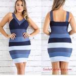 2019 Kot Elbise Modelleri Mavi Kısa Askılı V Yaka Kolsuz Renk Bloklu