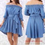 2019 Kot Elbise Modelleri Maci Kısa Omzu Açık Düşük Yetim Kol Kloş Etek Bağcıklı