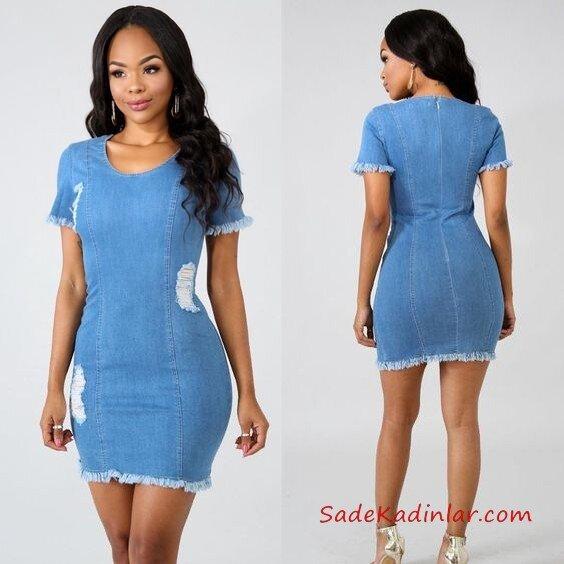 2019 Kot Elbise Modelleri Mavi Kısa Geniş Uaka Yırtık Desen Kısa Kol