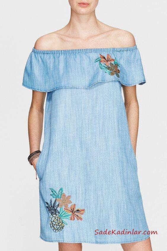 2019 Kot Elbise Modelleri Mavi Kısa Straplez Katlamalı Yaka Cepli Nakış İşlemeli
