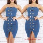 2019 Kot Elbise Modelleri Mavi Kısa Straplez Kuş Gözü Aksesuarlı Yırtmaçlı