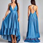 2019 Kot Elbise Modelleri Mavi Uzun İp Askılı V Yaka Sırt Dekolteli Fırfırlı