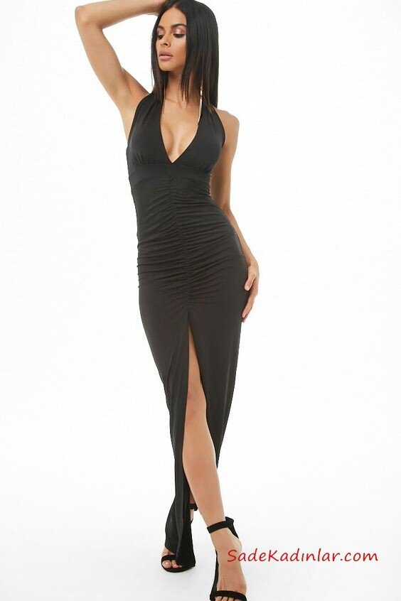 2019 Siyah Abiye Modelleri Siyah Uzun Askılı Derin V Yaka Yırtmaçlı