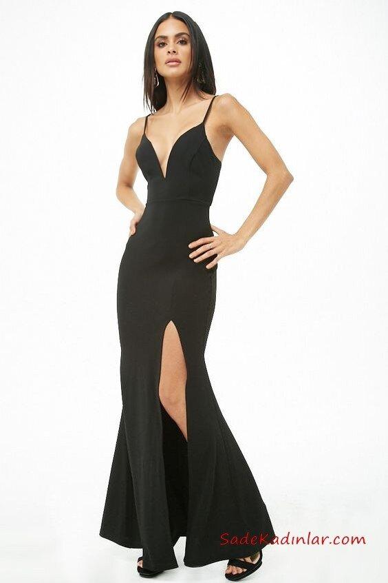 2019 Siyah Abiye Modelleri Siyah Uzun İp Askılı Dekolteli Yaka Derin Yırtmaçlı