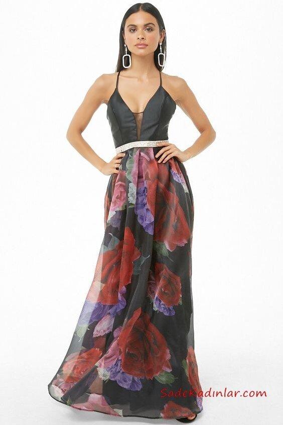 2019 Siyah Abiye Modelleri Siyah Uzun İp Askılı V Yaka Desenli Tül Etekli