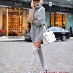 2019 Sokak Modası Gri Kısa Boğazlı Salaş Triko Elbise Gri Uzun Topuklu Çorap Çizme