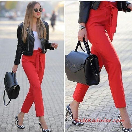 2019 Sokak Modası Kırmızı Kalem Pantolon Beyaz Bluz Siyah Deri Ceket Siyah Ekose Desenli Stiletto Ayakkabı
