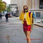 2019 Sokak Modası Kırmızı Kısa Deri Ceket Beyaz Bluz Sarı Bomber Ceket