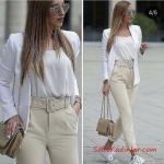 2019 Sokak Modası Krem KUmaş Pantolon Krem Bluz Beyaz Blazer Ceket Beyaz Spor Ayakkabı