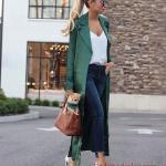 2019 Sokak Modası Lacivert Skinny Pantolon Beyaz V Yaka Bluz Yeşik Uzun Ceket Beyaz Stiletto Ayakkabı