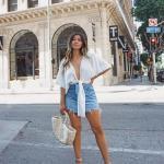 2019 Sokak Modası Mavi Kısa Kot Etek Beyaz V Yaka Kısa Kol Salaş Gömlek Gri Topuklu Ayakkabı