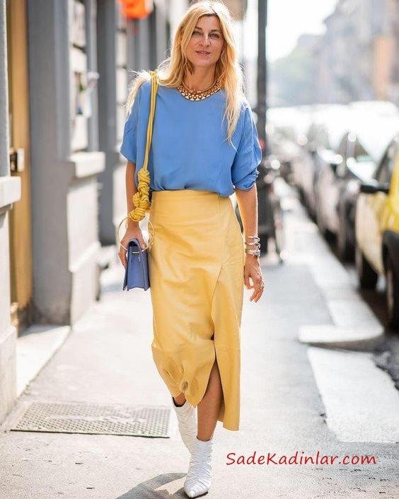 2019 Sokak Modası Sarı Uzun Yırtmaçlı Deri Etek Mavi Uzun Kol Bluz Beyaz Ankle Bot
