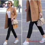 2019 Sokak Modası Siyah Kalem Pantolon Beyaz Bluz Kahverengi Uzun Ceket Beyaz Converse Spor Ayakkabı