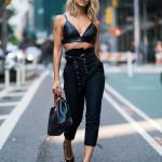 2019 Sokak Modası Siyah Kumaş PAntolon Siyah Askılı Büstiyer Siyah Stiletto Ayakkabı