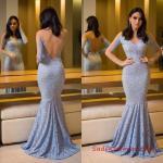 2019 Uzun Abiye Modelleri Bebek Mavisi Uzun Balık V Yaka Dantel Uzun Kol