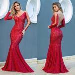 2019 Uzun Abiye Modelleri Kırmızı Balık Uzun Transparan Yaka Dantel Sırt Dekolteli