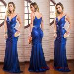 2019 Uzun Abiye Modelleri Saks Mavi Uzun İp Askılı V Yaka Büzgü Detaylı