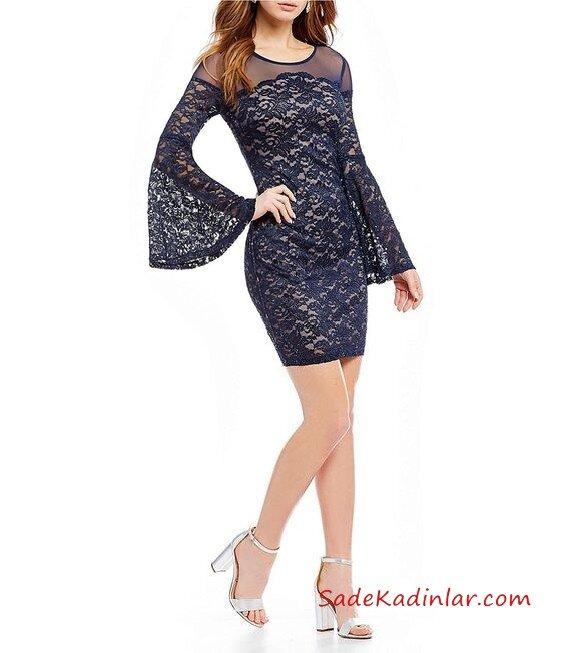 2019 Uzun Kollu Mini Gece Elbiseleri Lacivert Kısa Uzun İspanyol Kol Geniş Yaka Dantel