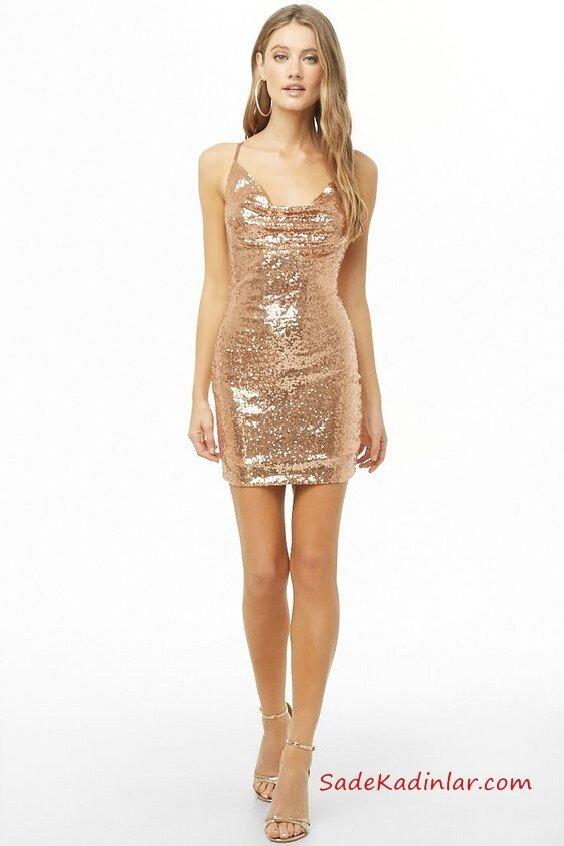 2019 Yılbaşı İçin Gece Kıyafetleri Gold Kısa İp Askılı Degaje Yaka Payetli Kısa Abiye Elbise