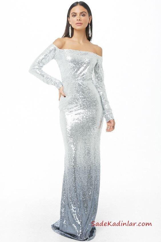 2019 Yılbaşı İçin Gece Kıyafetleri Gümüş Straplez Uzun Kollu Payetli Kuyruklu Abiye Elbise